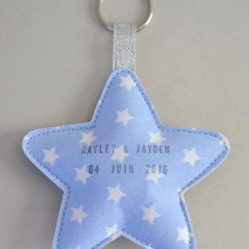 porte-clés étoile faire-part naissance personnalisé